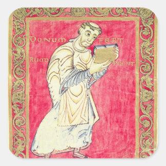 The monk Ruodprehet presenting his book Square Sticker
