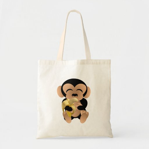 The monkey with a banana tote bags