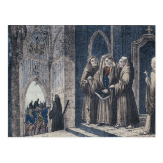 The Monks covering King with drape Camenz Convent Postcard