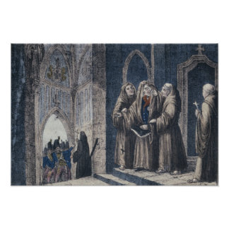 The Monks covering King with drape Camenz Convent Poster