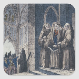 The Monks covering King with drape Camenz Convent Square Sticker