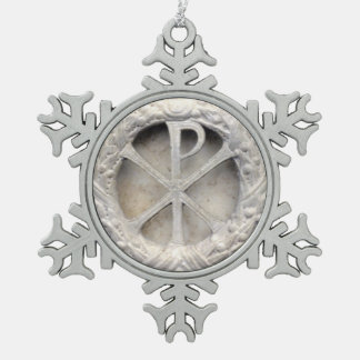 The Monogram of Christ Snowflake Pewter Christmas Ornament