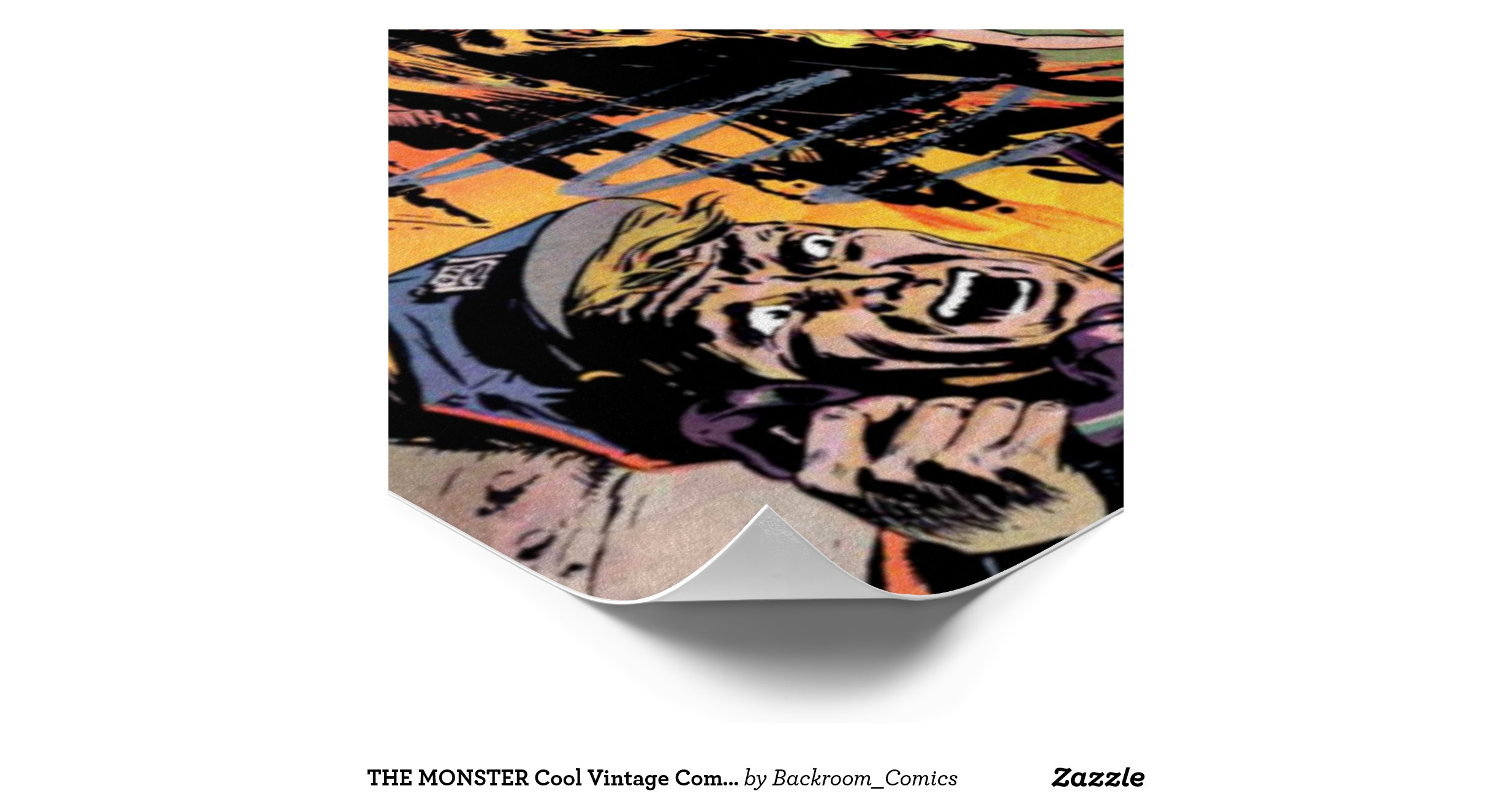 Cool Book Cover Posters : The monster cool vintage comic book cover art poster zazzle