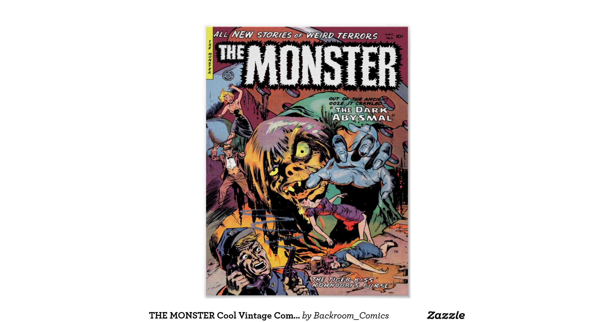 Cool Book Cover Posters ~ The monster cool vintage comic book cover art poster zazzle