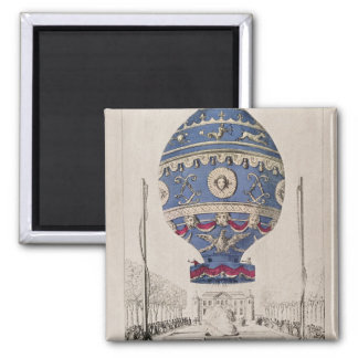 The Montgolfier Brothers' Balloon Experiment Square Magnet