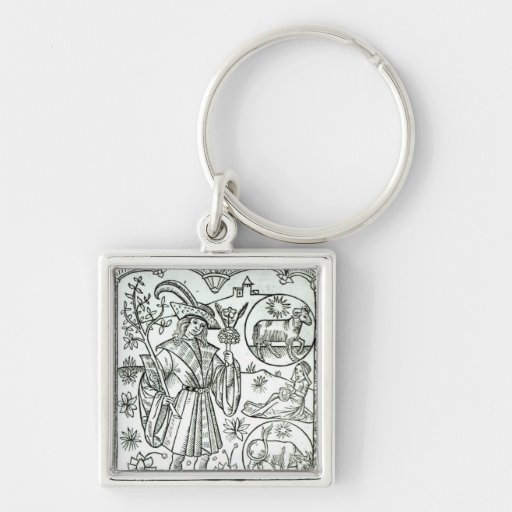 The month of April with astrological sun signs Keychain