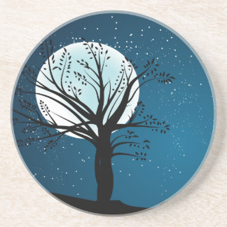 The Moon at Night Sandstone Coaster