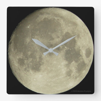 THE MOON...GOD'S VIEW #4 SQUARE WALL CLOCK