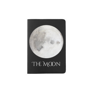 The Moon Planet Watercolor Passport Cover