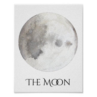 The Moon Planet Watercolor Poster