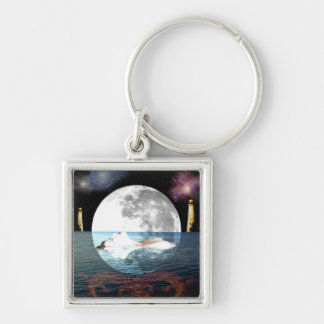 The Moon Tarot Card Art Silver-Colored Square Keychain