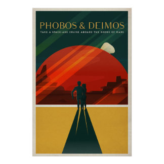 THE MOONS OF MARS - Phobos Deimos | Space | Retro Poster