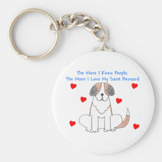 The More I Know People Saint Bernard Basic Round Button Keychain