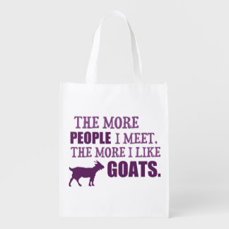 The More I Like Goats Reusable Grocery Bags