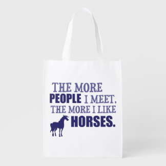 The More I Like Horses Reusable Grocery Bag