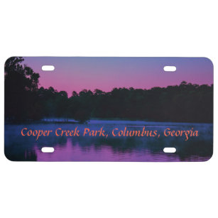 The Morning Sunrise on the Lake License Plate