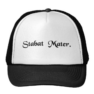 The mother was standing. trucker hat