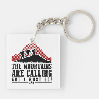 The Mountains Are Calling and I Must Go Double-Sided Square Acrylic Keychain
