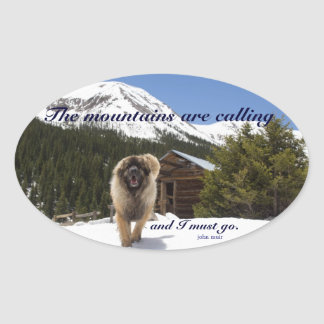 The mountains are calling oval sticker