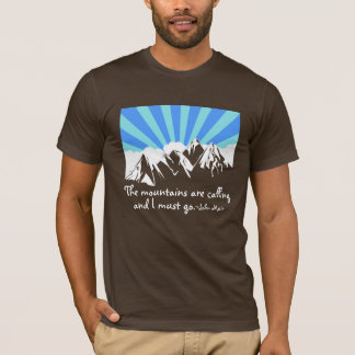 """""""The Mountains Are Calling"""" Retro Clouds & Sky T-Shirt"""