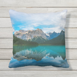 The Moutains and Blue Water Outdoor Pillow