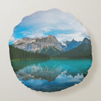 The Moutains and Blue Water Round Pillow