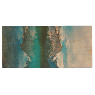 The Moutains and Blue Water Wood USB 2.0 Flash Drive