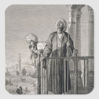 The Muezzin's Call to Prayer, 19th century Square Sticker