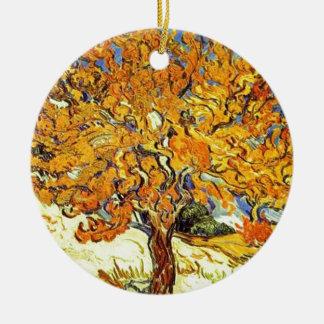 The Mulberry Tree, Vincent Van Gogh Round Ceramic Ornament