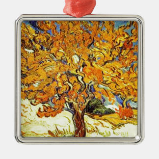 The Mulberry Tree, Vincent Van Gogh Silver-Colored Square Ornament
