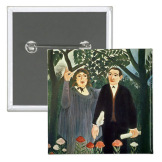 The Muse Inspiring the Poet, 1909 2 Inch Square Button