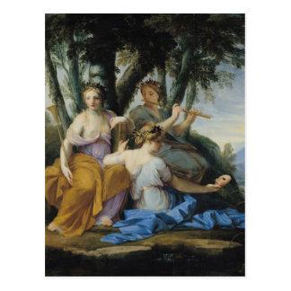 The Muses, Clio, Euterpe and Thalia, c.1652-55 Postcard