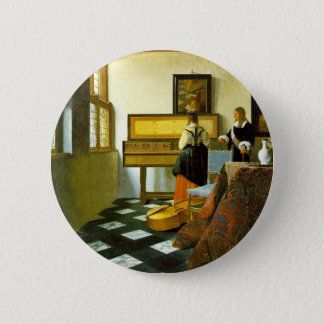 The Music Lesson By Vermeer Van Delft Jan 2 Inch Round Button