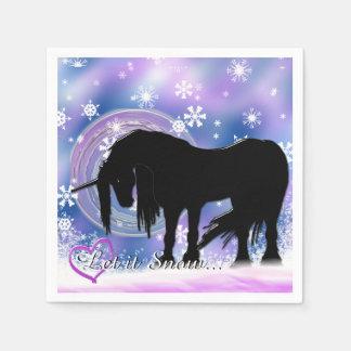 The Mystical Black Unicorn (Let It Snow) Paper Napkin