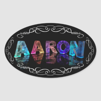 The Name Aaron in 3D Lights (Photograph) Oval Sticker