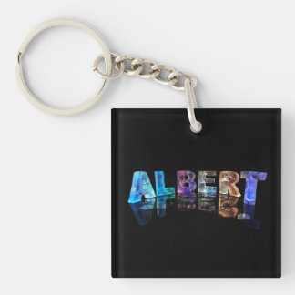 The Name Albert in Lights Single-Sided Square Acrylic Keychain