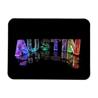 The Name Austin in 3D Lights Magnet