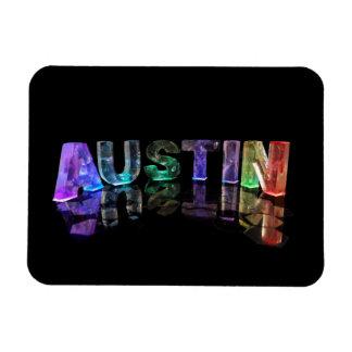 The Name Austin in 3D Lights Rectangular Magnets
