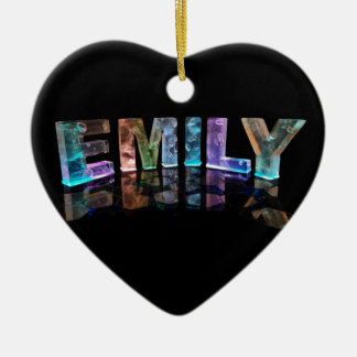 The Name Emily in 3D Lights (Photograph) Ceramic Heart Ornament