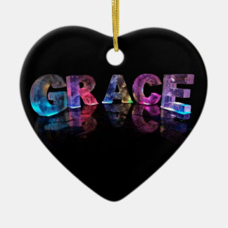 The Name Grace in 3D Lights (Photograph) Ceramic Heart Ornament