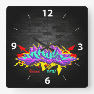 The name Kayla in graffiti Wallclocks