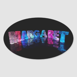 The Name Margaret in 3D Lights (Photograph) Oval Sticker