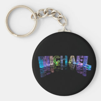 The Name Michael in 3D Lights (Photograph) Keychain