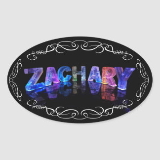 The Name Zachary -  Name in Lights (Photograph) Oval Sticker