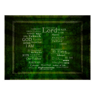 THE NAMES OF GOD listed Poster