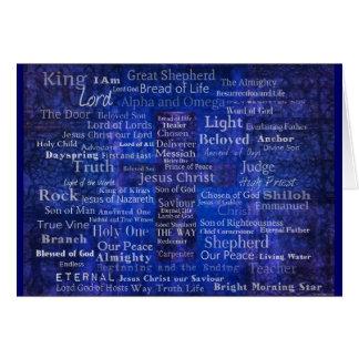 The Names of Jesus Christ blue cross art Card