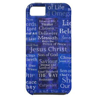 The Names of Jesus Christ blue cross art iPhone 5 Cover