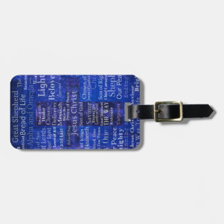 The Names of Jesus Christ blue cross art Luggage Tag