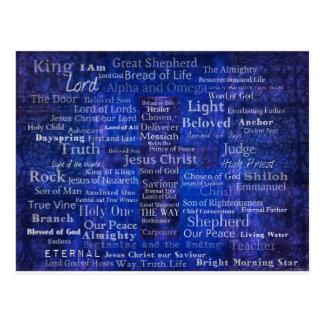 The Names of Jesus Christ blue cross art Postcard
