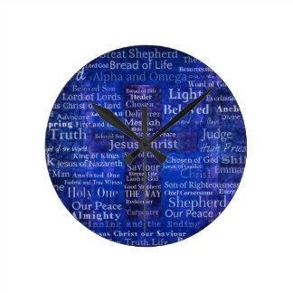 The Names of Jesus Christ blue cross art Round Clock